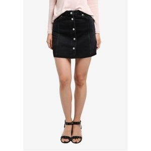 Topshop Moto Button Denim Mini Skirt